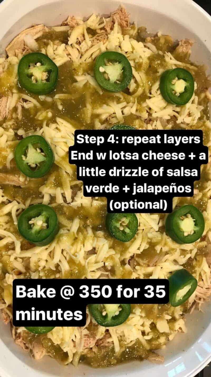 salsa verde chicken tostada casserole