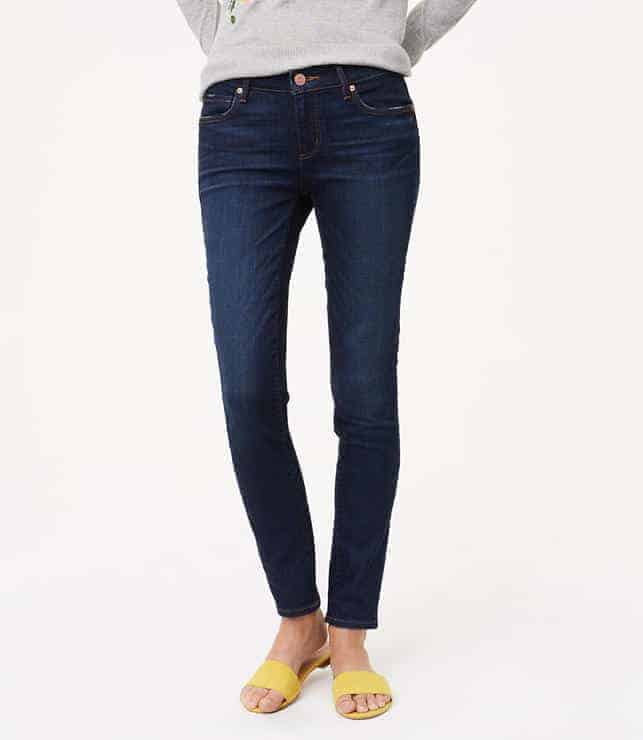 LOFT Curvy Skinny Jeans Dark Indigo