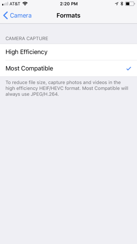 .HEIC files on new iPhone update