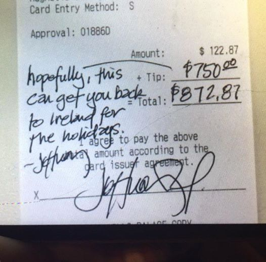 texas diner tips Irish waiter
