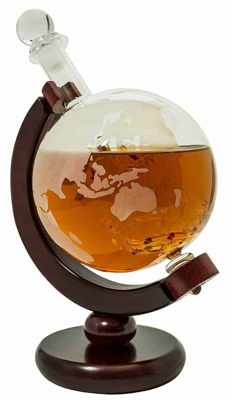 Globe Whiskey Decanter with Dark Wood Stand