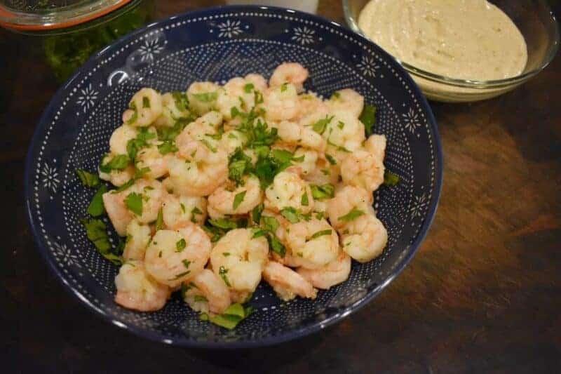 lemony boiled shrimp with honey mustard dipping sauce
