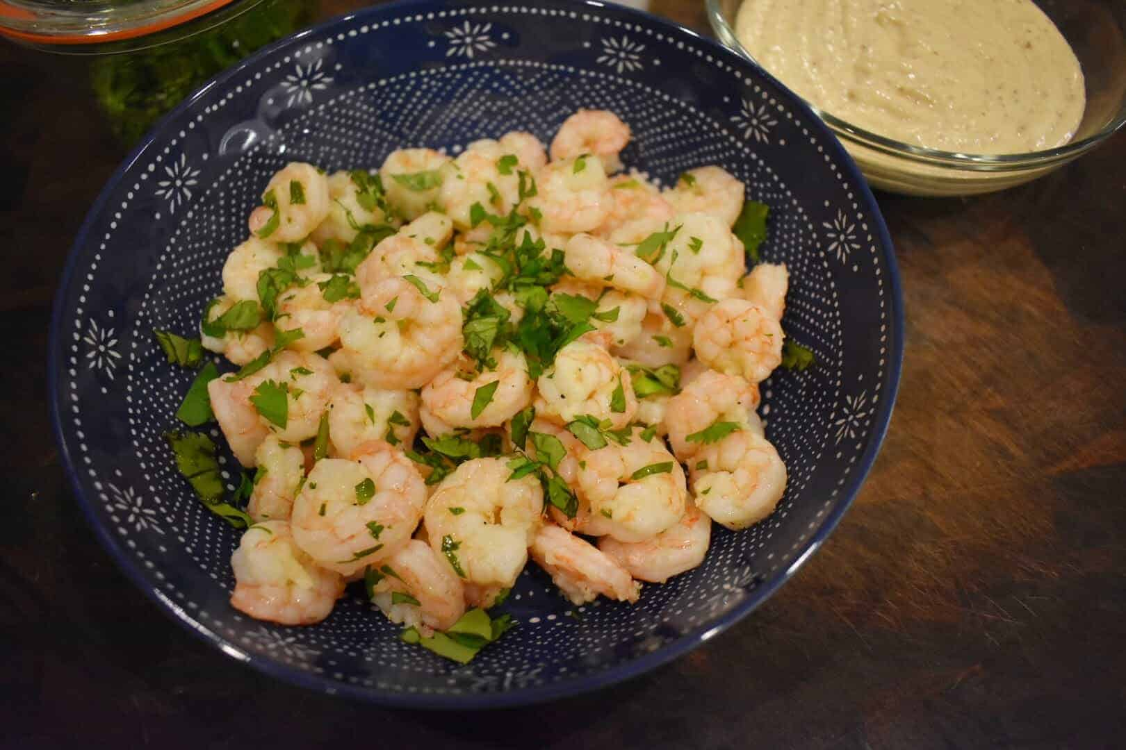 lemony boiled shrimp with honey mustard dipping sauce