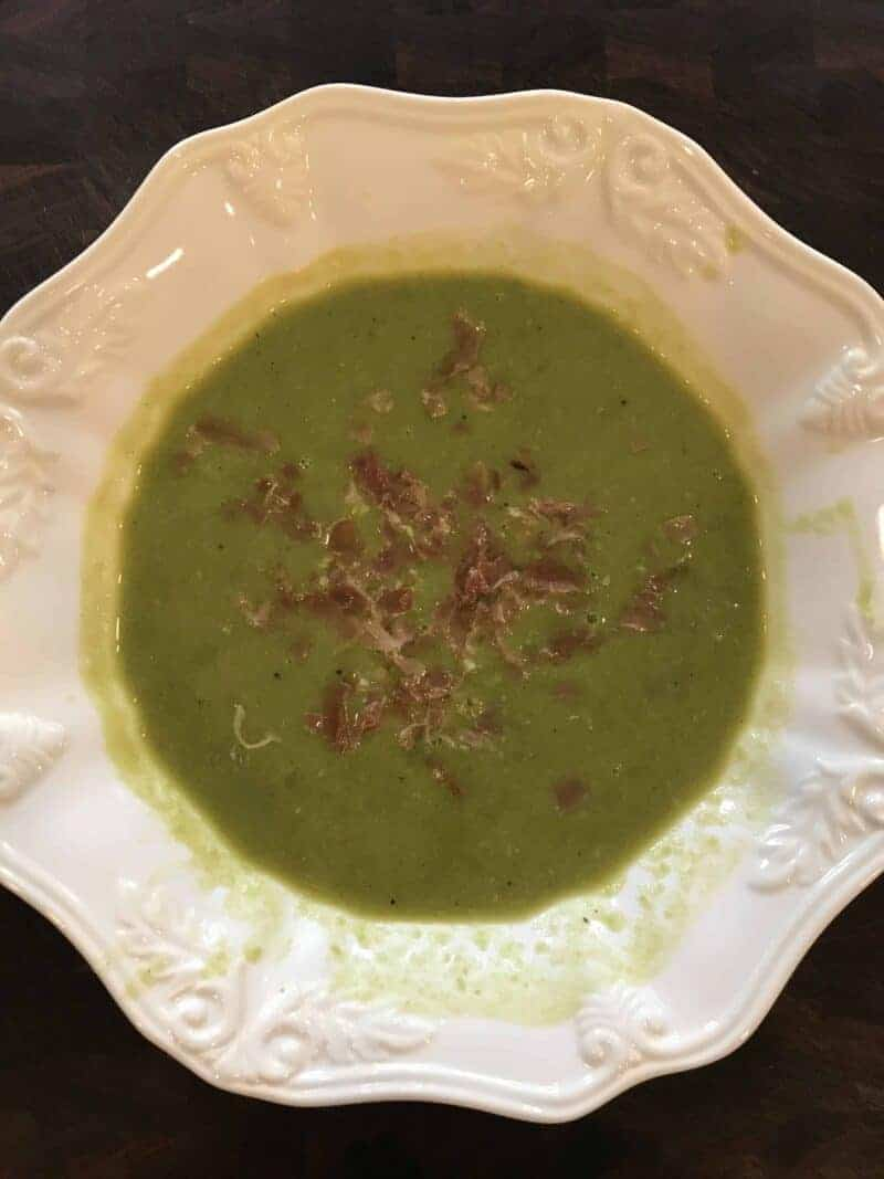 barefoot contessas spanish pea soup with crispy ham