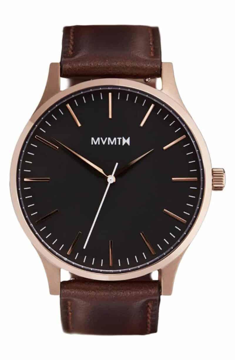 MVMT Leather Strap Watch