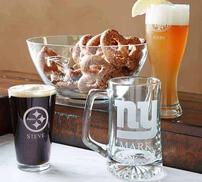Personalized NFL Beer Glasses and Serving Bowl