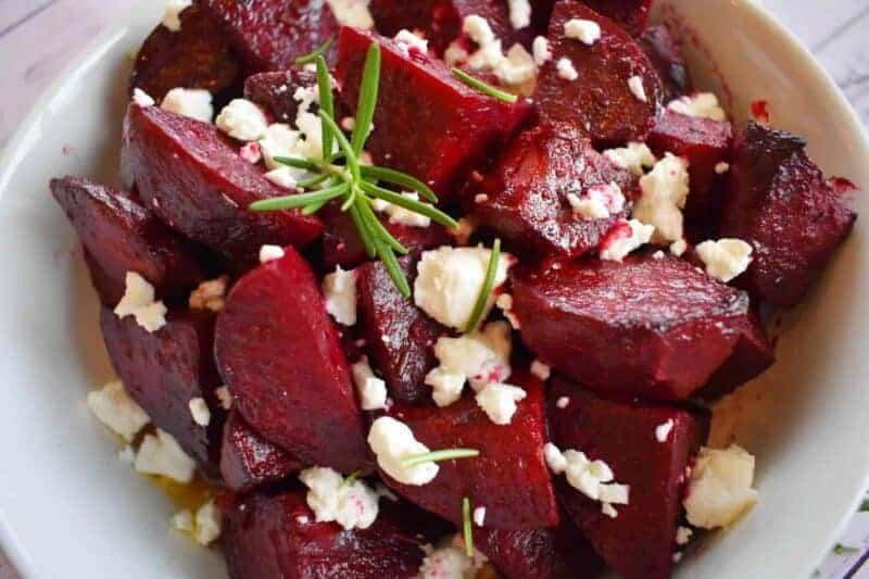 Roasted Beets with Dijon Vinaigrette and Goat Cheese