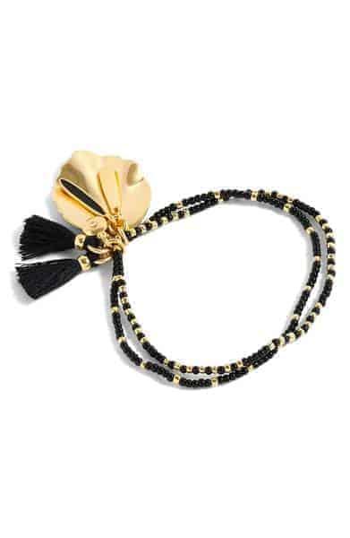 JCrew Beaded Shell Tassel Bracelet