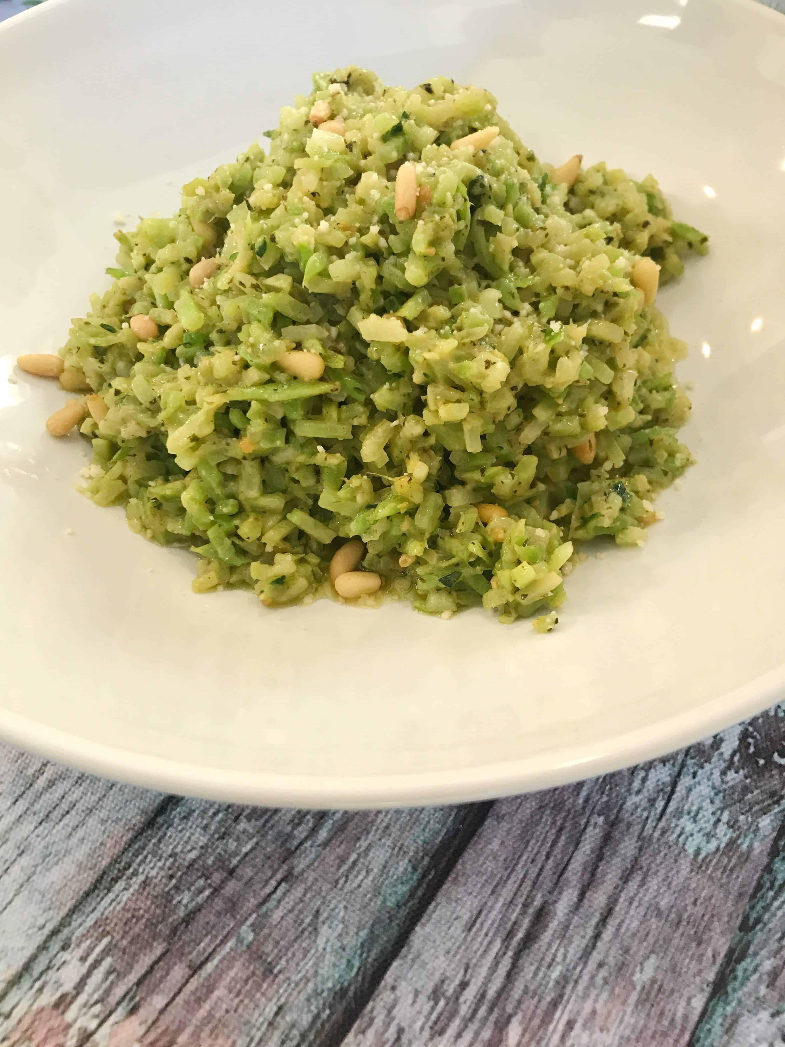 Broccoli Rice with Pesto Pine Nuts and Parmesan