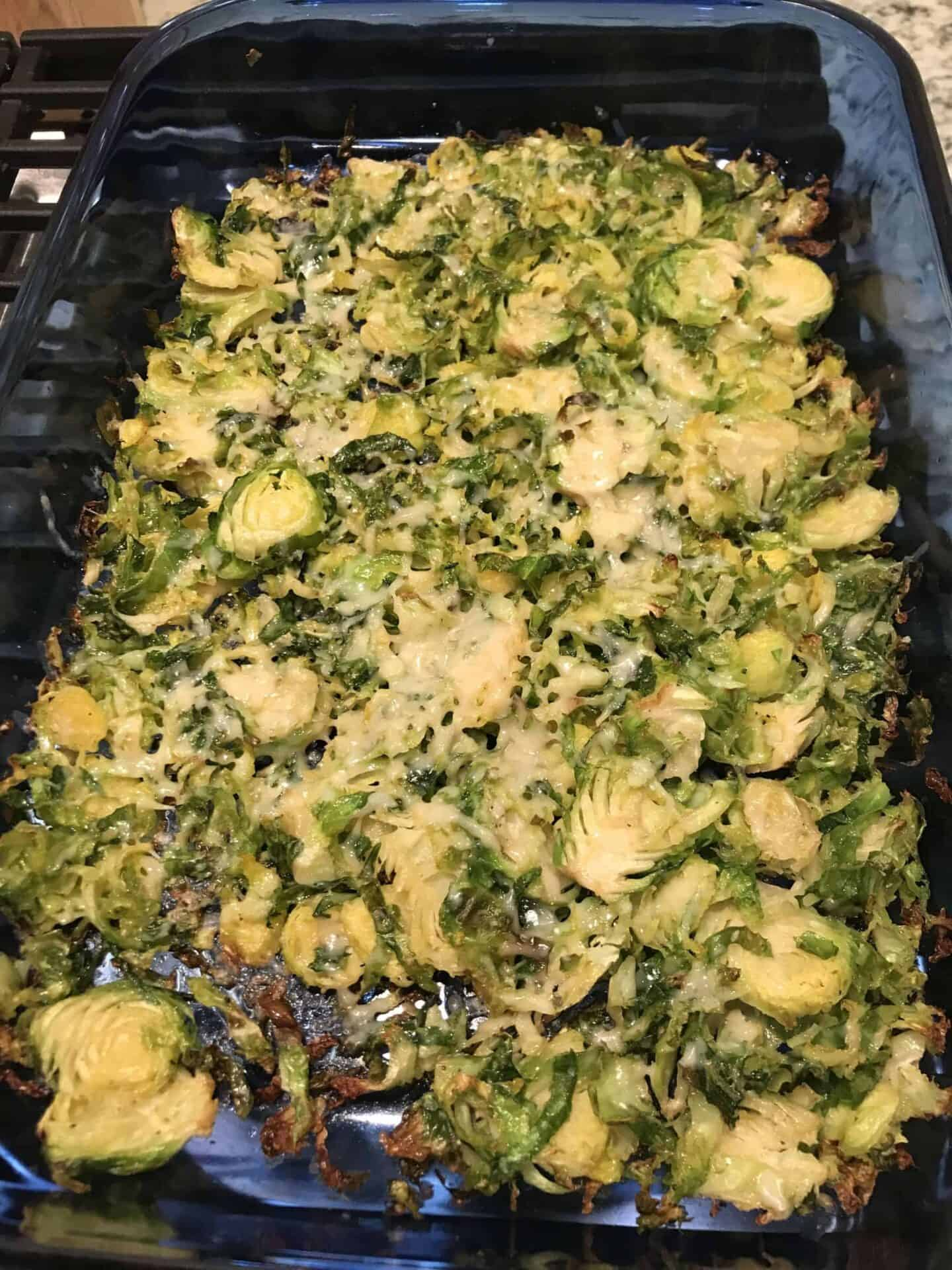 Roasted Shaved Brussels Sprouts with Parmesan