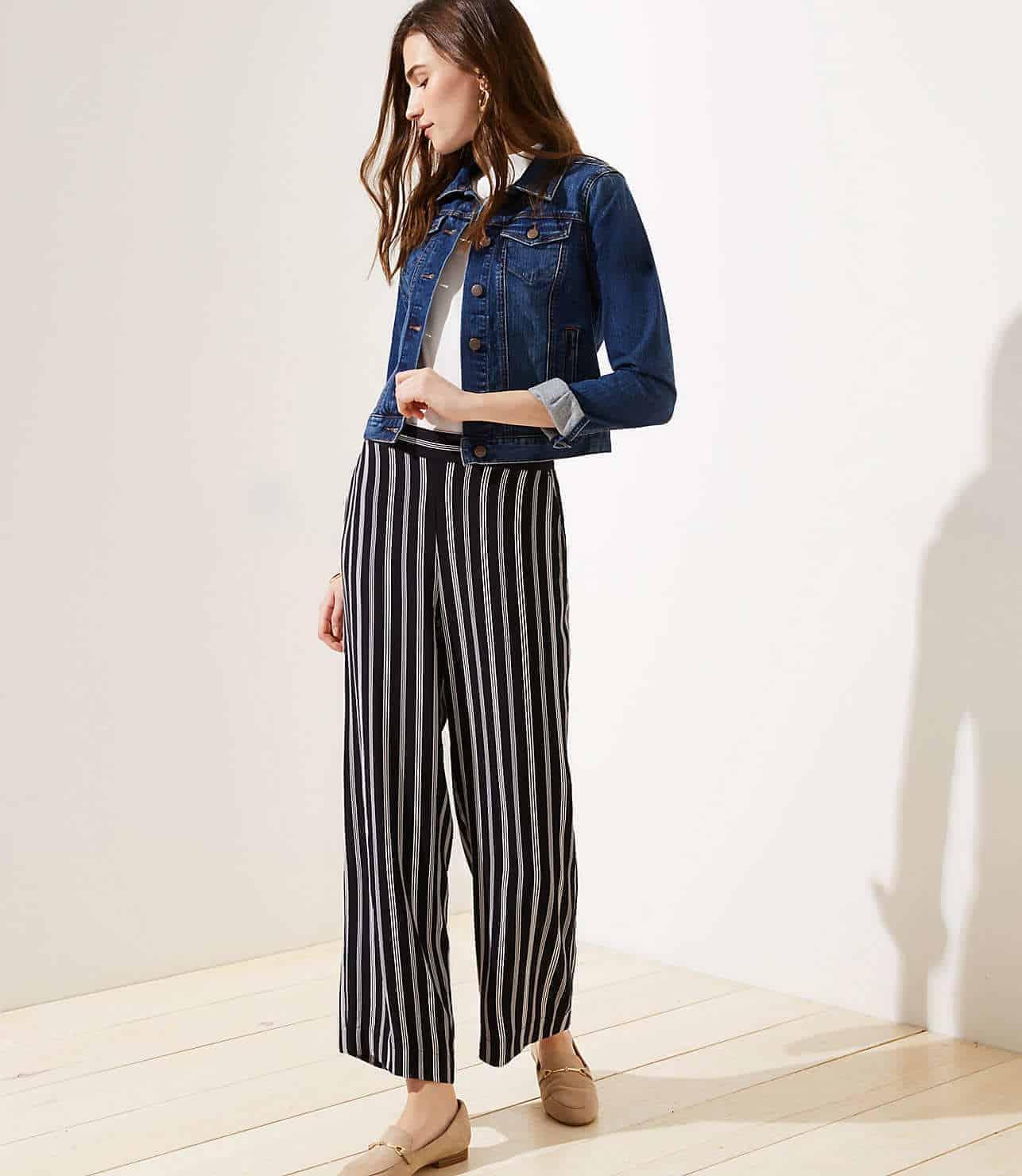 loft striped fluid wide leg pants
