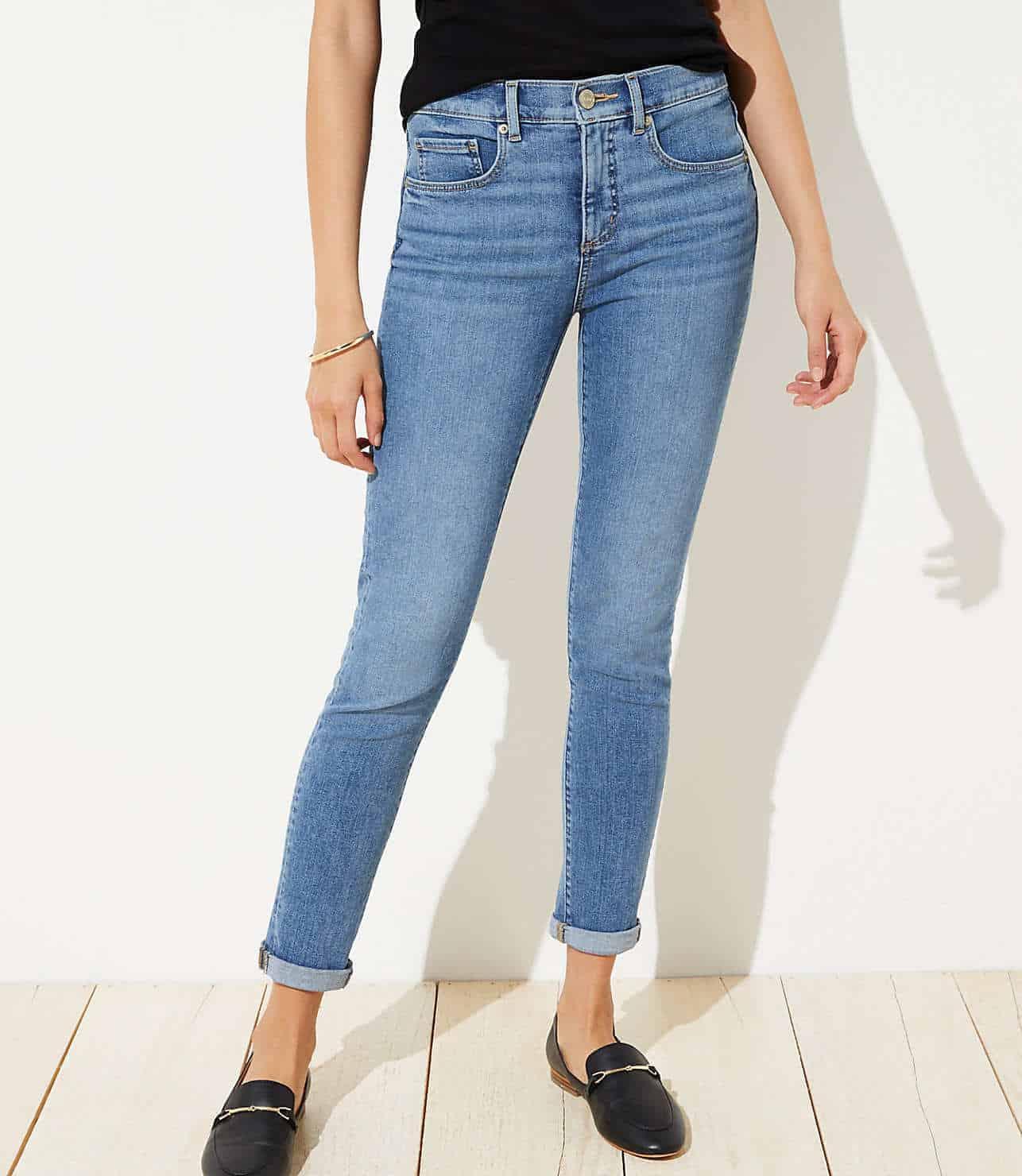 soft slim pocket skinny crop jeans in mid indigo