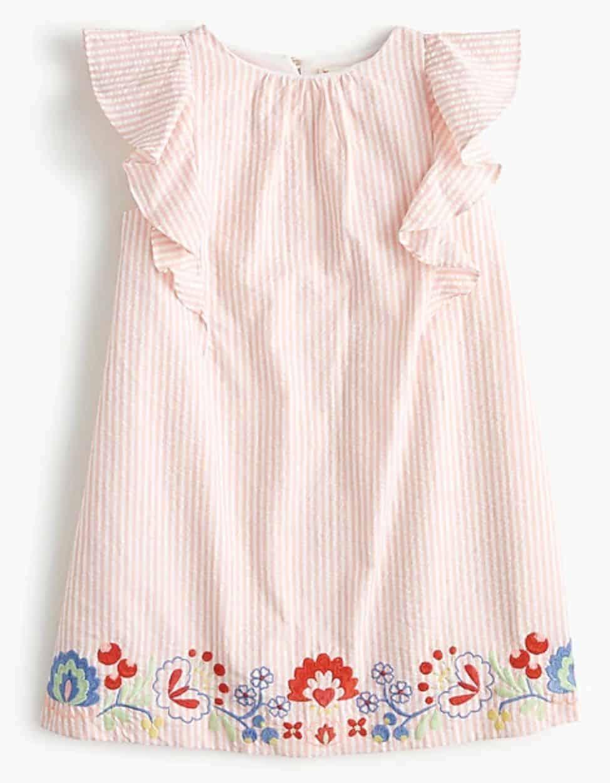 spring dress girls embroidered seersucker