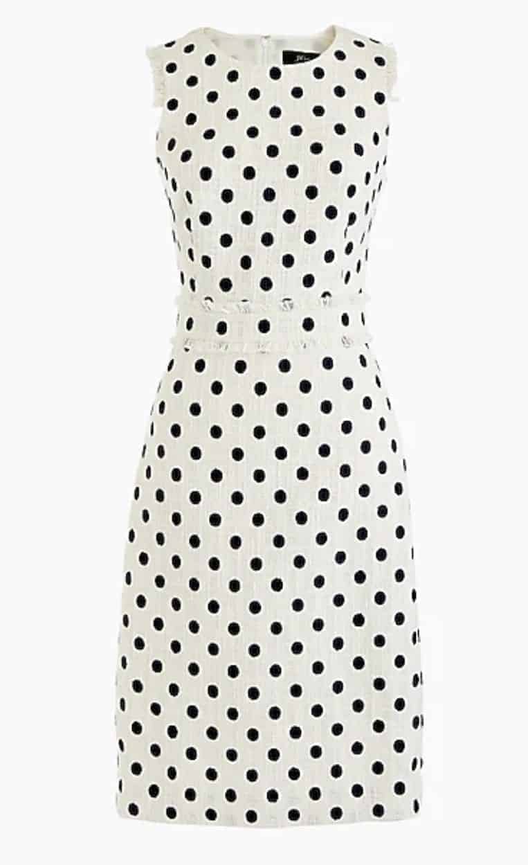spring dress sheath dress spotted tweed