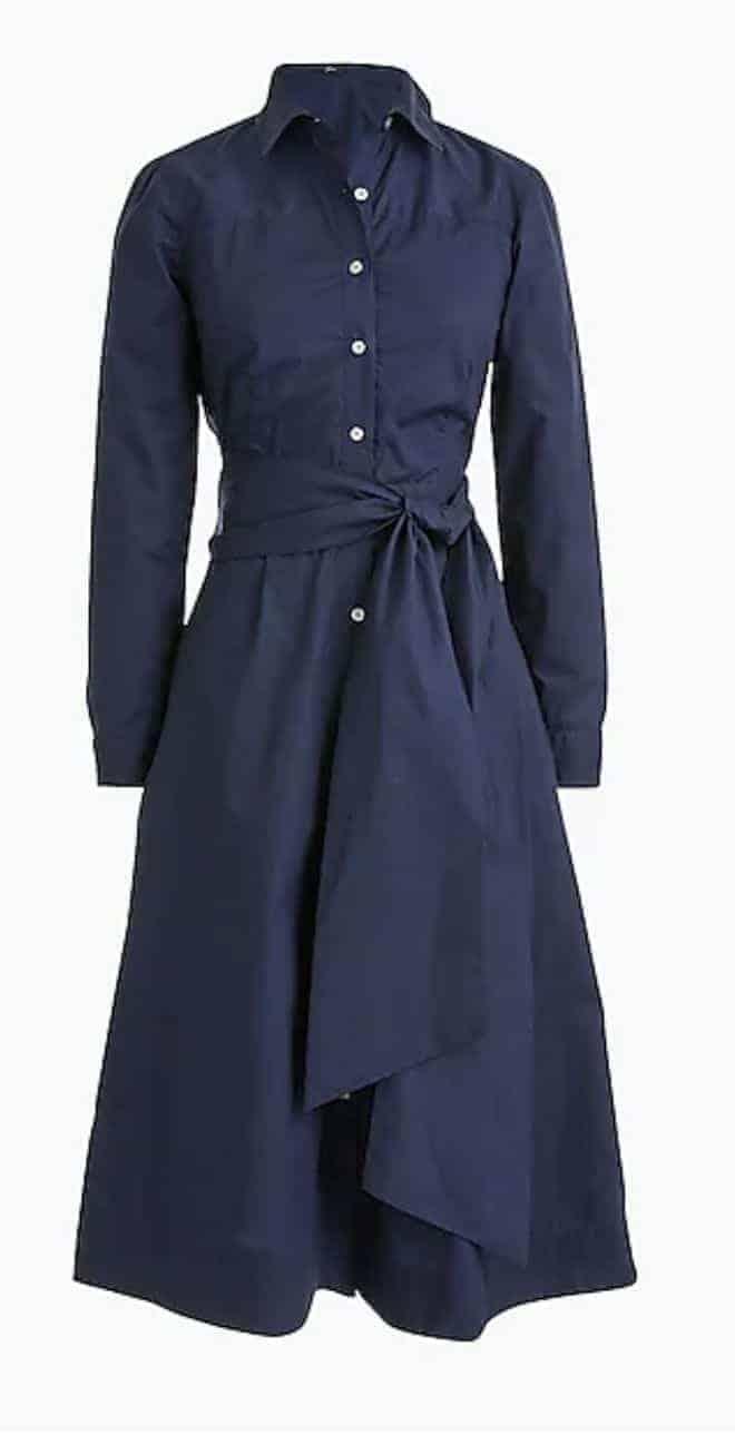 spring dress tie waist shirtdress navy