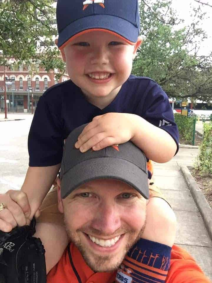 daddy and son at the Astros gamea