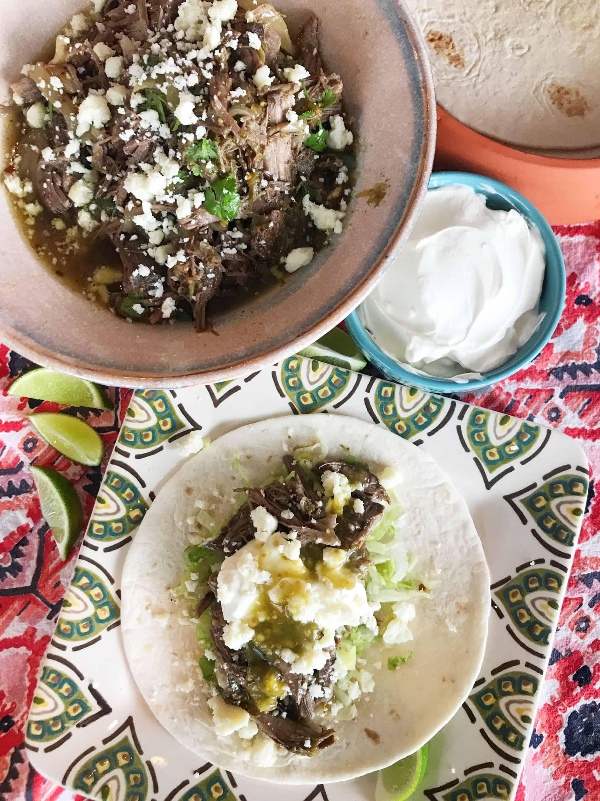 Slow Cooker Salsa Verde Beef Tacos