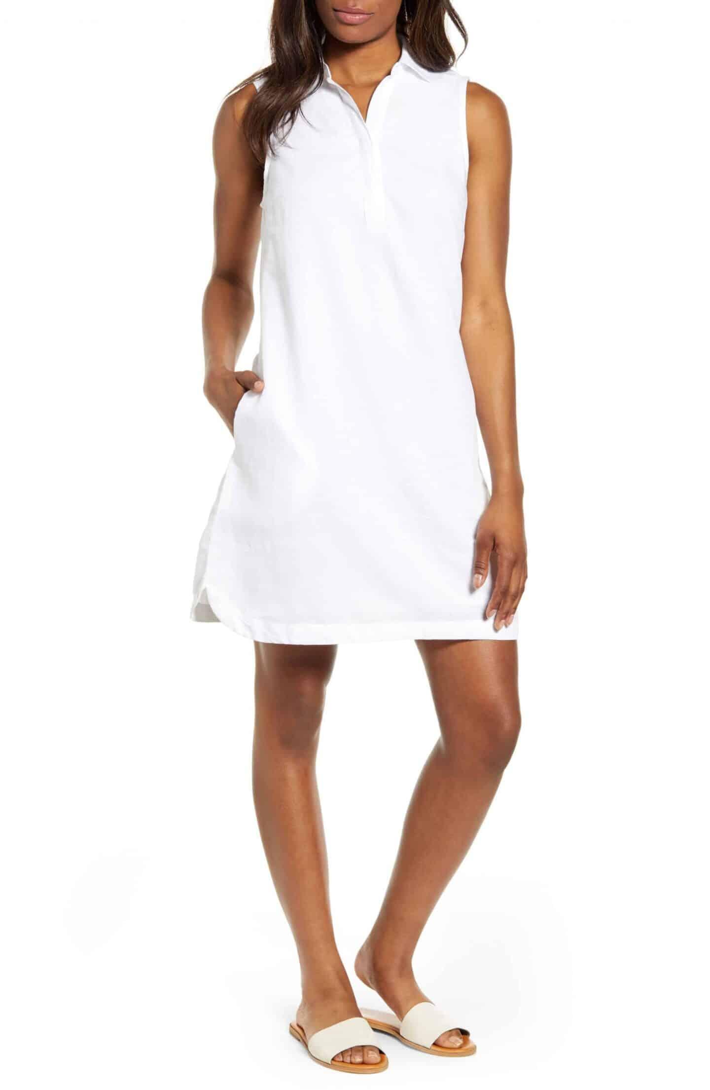 Polo Collar Linen Cotton Shift Dress