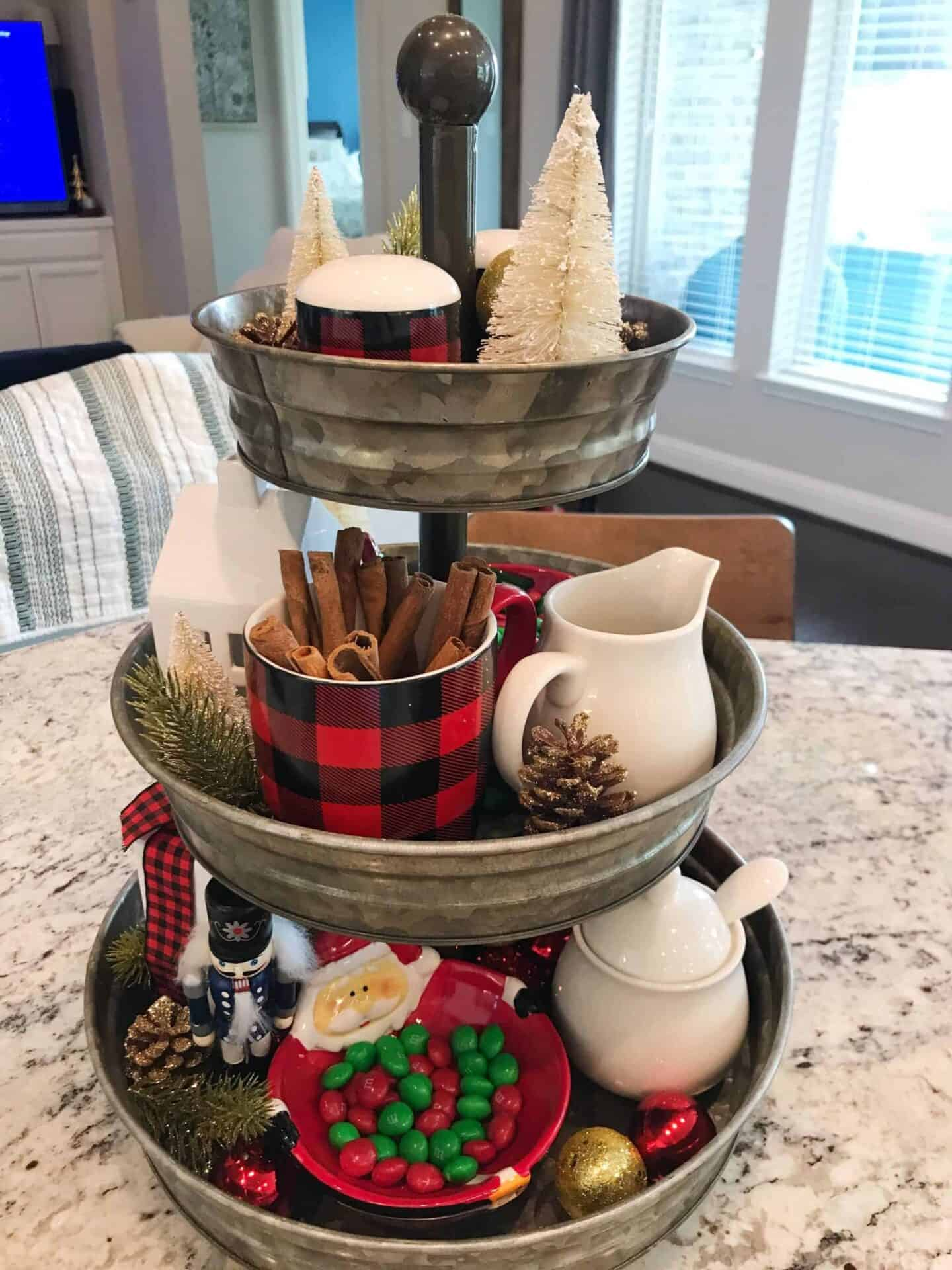 christmas decor tiered tray
