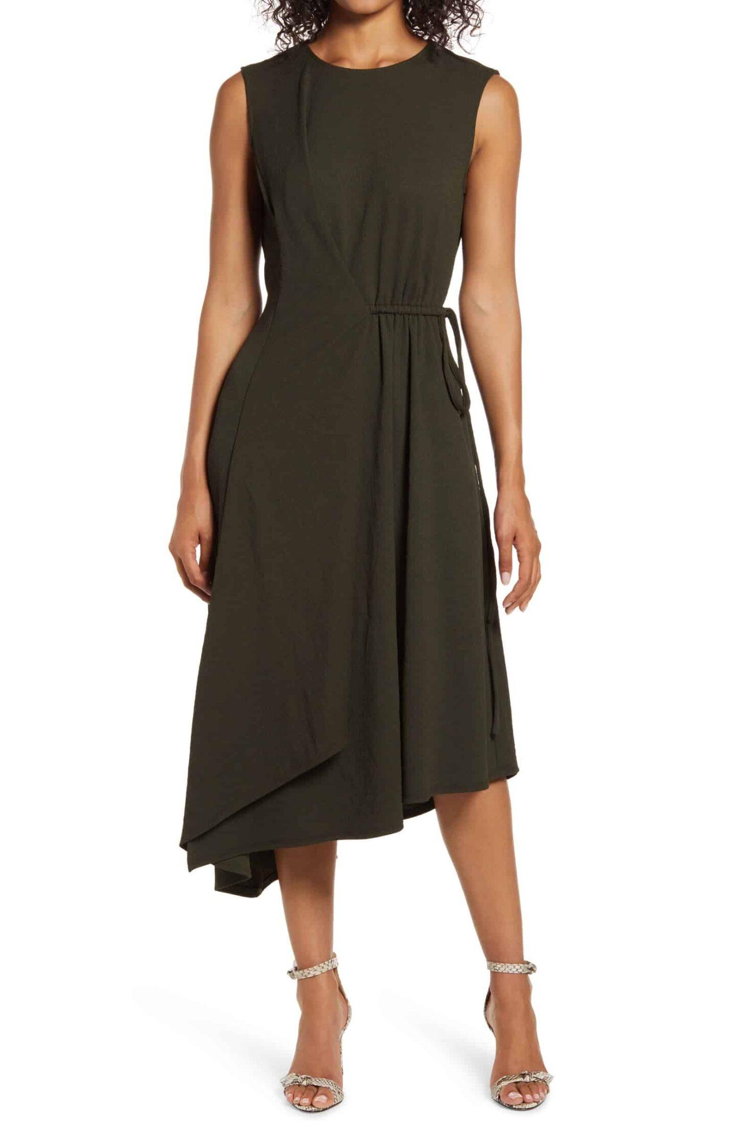Asymmetrical-Drape-Midi-Dress
