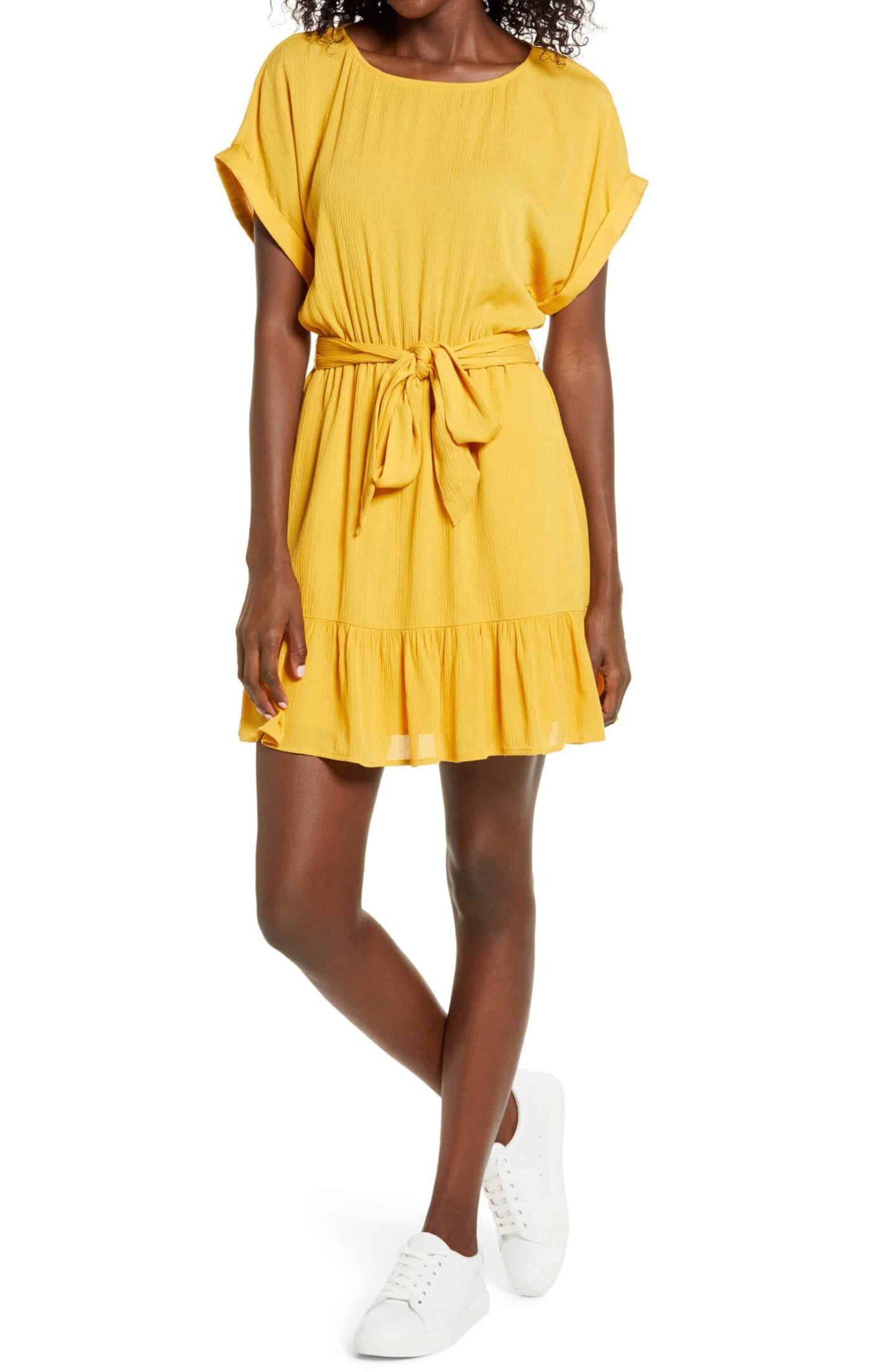 Belted-Short-Sleeve-Dress
