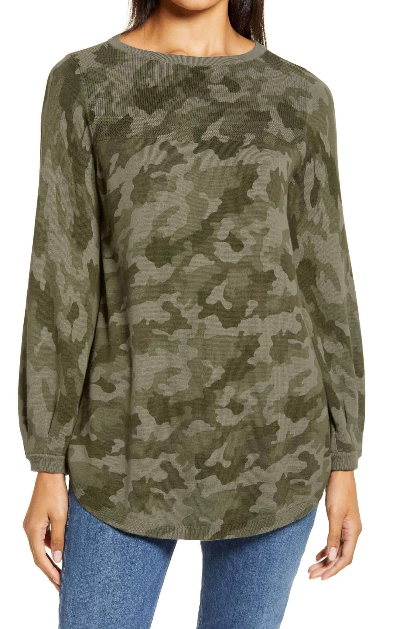 Camo-Bishop-Sleeve-Sweater