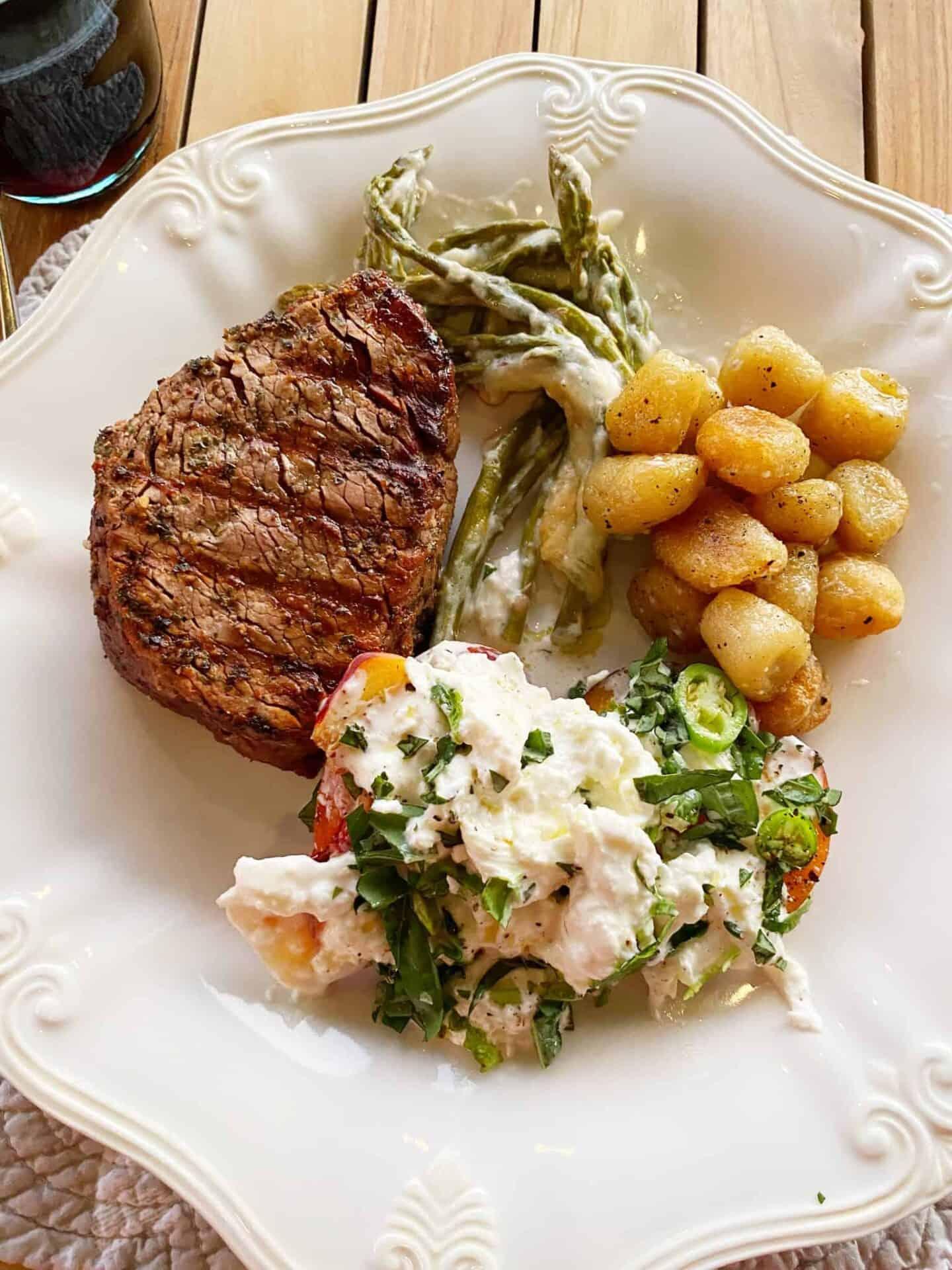 Filet-Mignon-Trader-Joes-Cauliflower-Gnocchi-and-Burrata-Salad-1