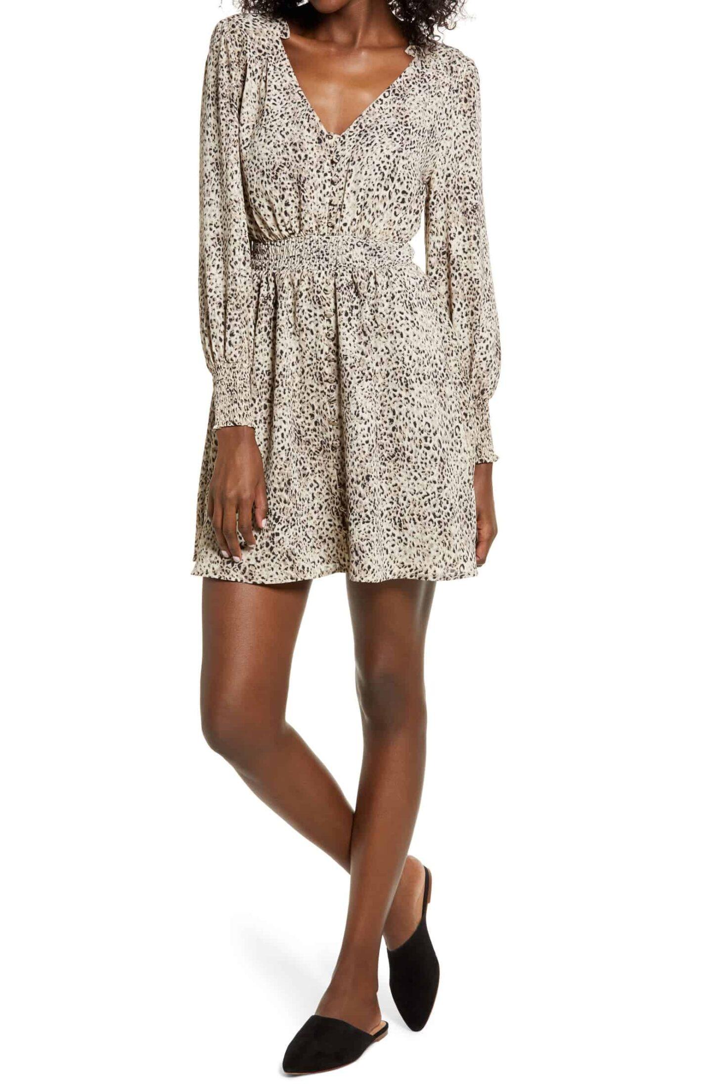 Leopard-Print-Smocked-Long-Sleeve-Dress