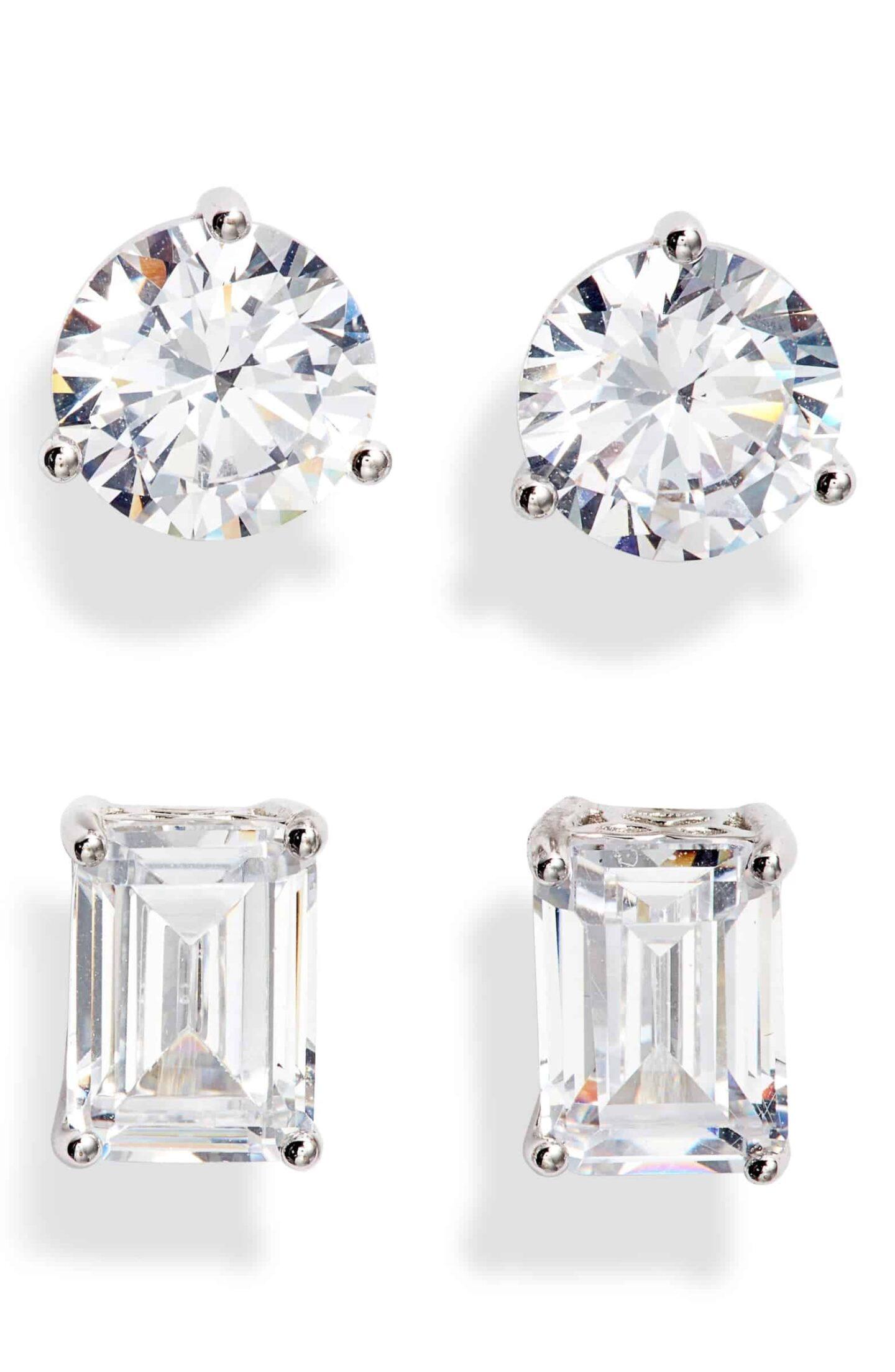 Set-of-2-Cubic-Zirconia-Stud-Earrings