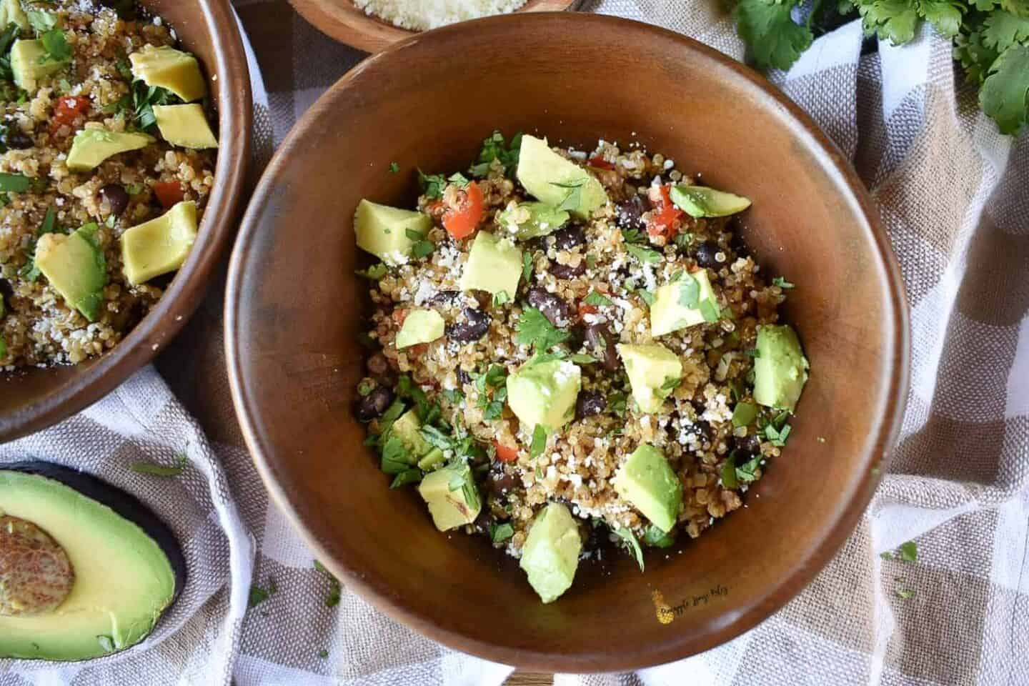 Loaded-Mexican-Veggie-Quinoa-with-Cilantro-Lime-Vinaigrette-recipe